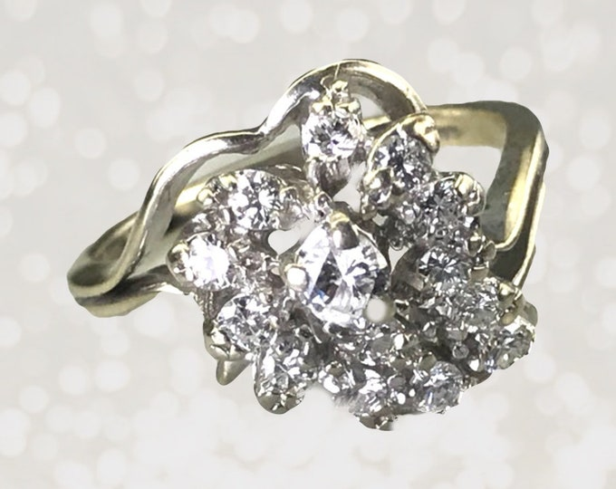 Vintage Diamond Cluster Ring in a 14K White Gold. Unique Engagement Ring. April Birthstone. 1960s Sustainable Estate Fine Jewelry. Appraised