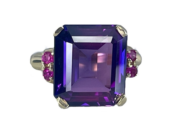 Vintage Purple Sapphire Ring with Ruby Accents in a 10k Yellow Gold Setting. Unique Engagement Ring. 1970s Sustainable Estate Jewelry.