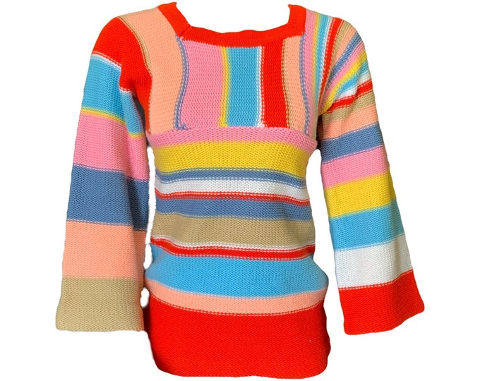 Vintage Womens Sweater with Bright Color Blocking by Ventura. 1970s Sustainable Women's Fashion. Red Yellow Blue and Pink Stripes.