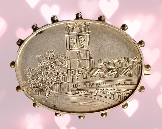 Antique Sterling Silver Brooch with Engraved River City Scene. Perfect for a Pendant. 25th Anniversary. Estate Jewelry Circa 1880s.