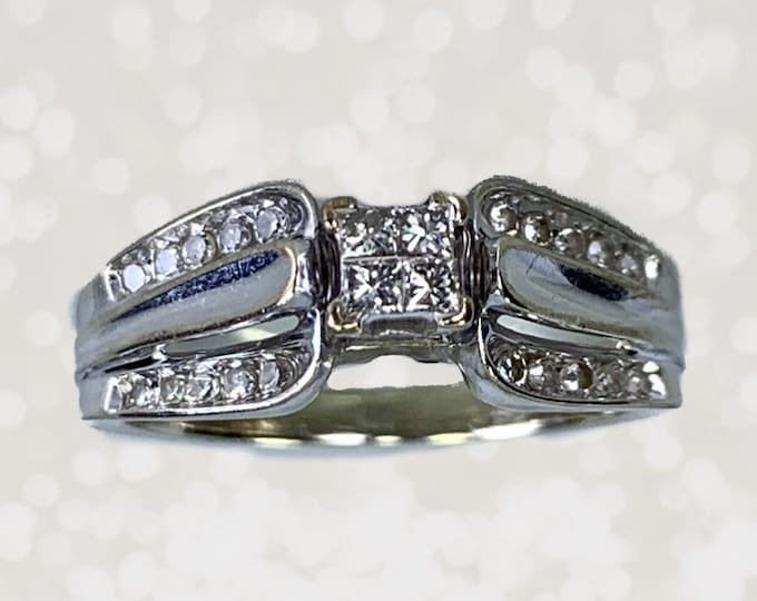 Vintage 1970s Diamond Engagement Ring in a 10K White Gold. April Birthstone. 10 Year Anniversary Stone. Estate Fine Jewelry.