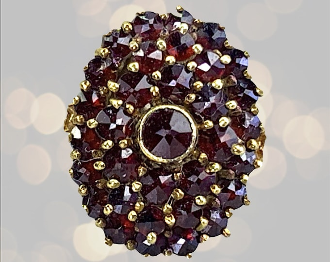 Vintage Garnet Cluster Statement Ring in 14k Yellow Gold. Unique Bohemian Engagement Ring. January Birthstone. 2 Year Anniversary Gift.