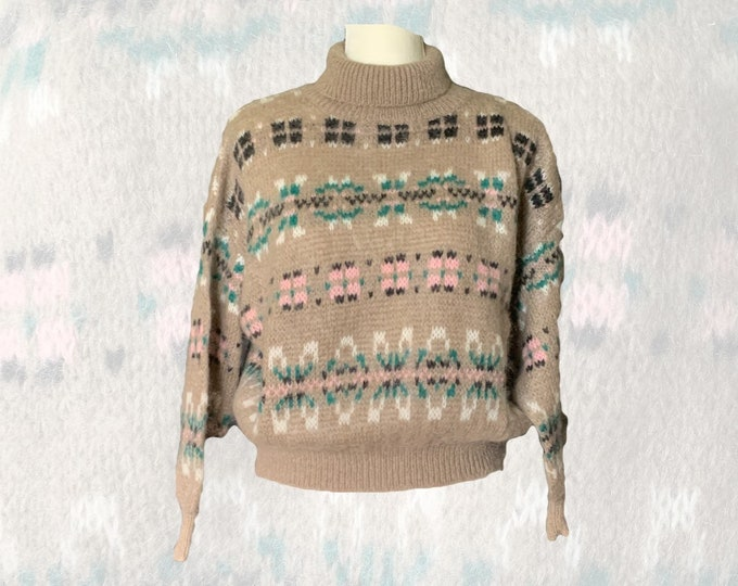 Vintage Tan Fair Isle Sweater with Pink and Blue Accents by United Colors of Benetton Circa 1980s. Sustainable Fashion. Preppy Clothing.