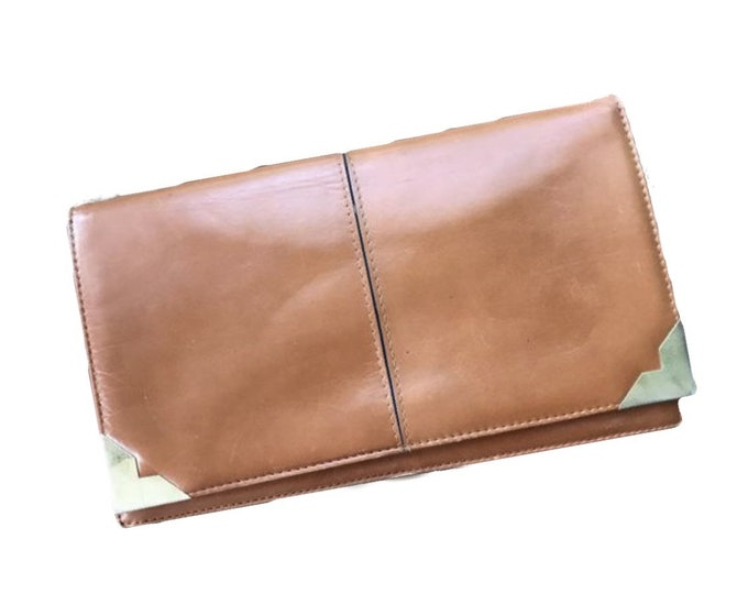 Vintage Leather Clutch from Saks Fifth Avenue Spain. Glove Tanned Brown Leather. 1970s Sustainable Vintage Fashion Accessory.