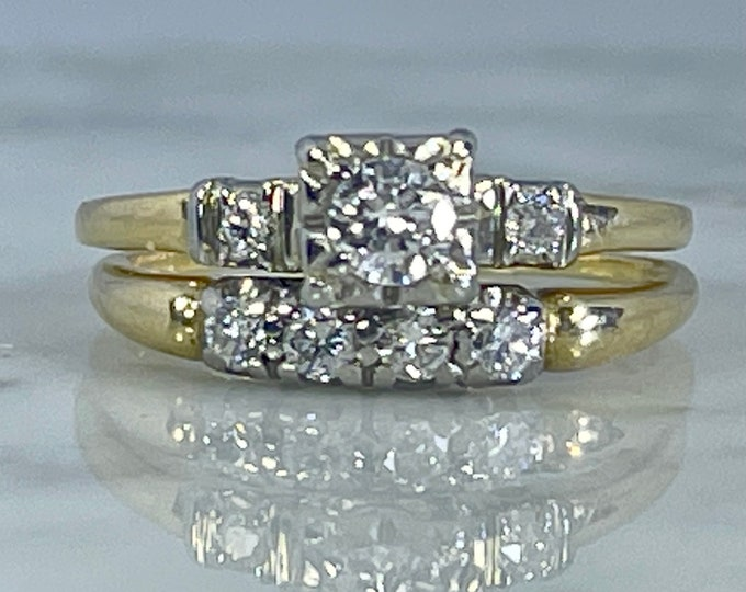 Vintage Diamond Engagement Ring and Gold Wedding Band Bridal Set by Jabel. Sustainable Vintage Estate Jewelry Circa 1950s.