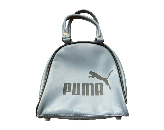 Vintage Blue Handbag from Puma. Mini Bowling or Gym Bag Style. Preppy Purse perfect for Fall. 1980s Sustainable Fashion Accessory.