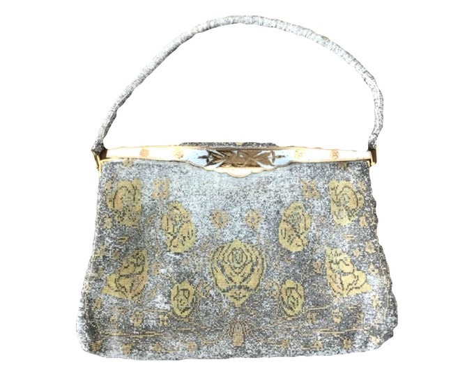 Vintage Metal Mesh Metallic Clutch in Silver and Gold with a Floral design by Saks Fifth Avenue. 1930s Sustainable Fashion Accessory.