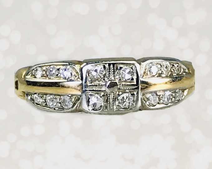 Antique Art Deco Diamond Wedding Band in 14k White and Yellow Gold Setting. Perfect Stacking Ring. 1910 Sustainable Vintage Jewelry.