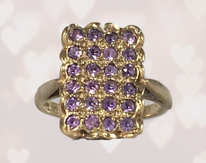 Vintage Amethyst Cluster Ring in 9k Yellow Gold. Unique Engagement Ring. February Birthstone. 1970s Sustainable Estate Jewelry.