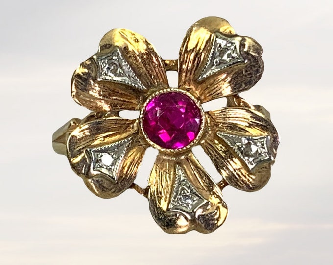 Vintage Ruby and Diamond Flower Ring.  Boho Chic Engagement Ring. July Birthstone. 15th Anniversary. 1950s Sustainable Estate Jewelry
