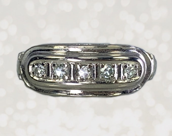 Vintage Diamond Band in 14K White Gold. Perfect for a Wedding Ring or Stacking Ring. April Birthstone. 1950s Sustainable Estate Jewelry.