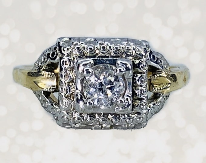 Antique Art Deco Diamond Engagement Ring by Jabel in 14K Gold. 1920s Estate Fine Jewelry. April Birthstone. 10 Year Anniversary Gift.