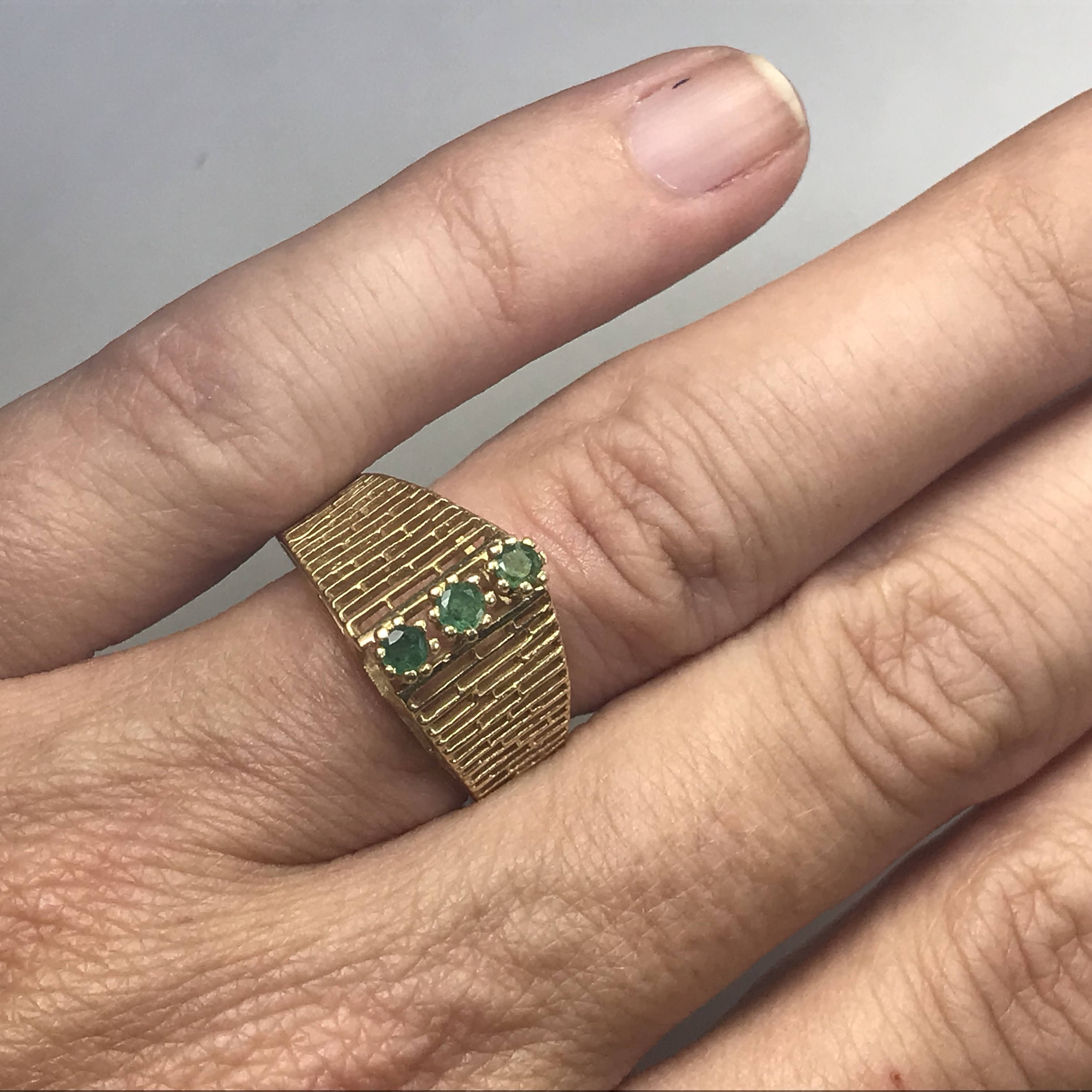 Vintage Emerald Ring 14k Yellow Gold Unique Engagement Ring Green