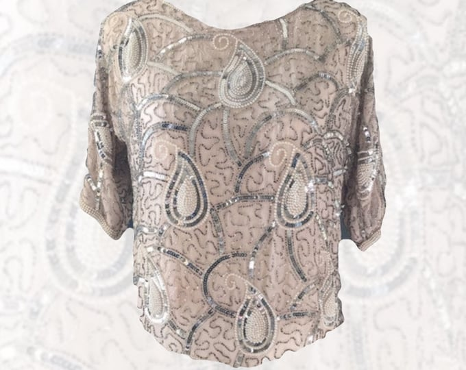 Vintage Art Deco Style Beaded Top by Swee Lo for Saks Fifth Avenue. Silk with Sequins and Beads Perfect New Years Eve Statement Clothing.
