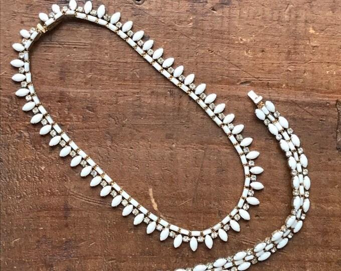 Vintage Milk Glass and Rhinestone Necklace and Bracelet set by Hattie Carnegie. 1950s Costume Jewelry. Perfect Wedding Day Jewelry!