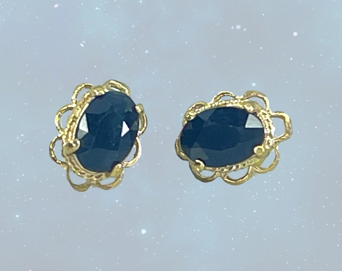 Vintage Sapphire Earrings set in Solid Yellow Gold. Perfect Something Old for a Bride. September Birthstone and 5th Anniversary Stone.