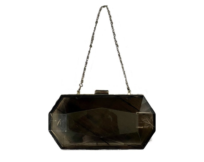 Vintage Translucent Gray Lucite Clutch. Geometric Shaped Evening Bag with Silver Accents. Sustainable Vintage Fashion Accessory Circa 1960s