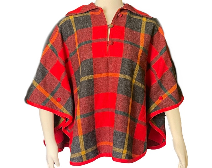 Vintage Wool Poncho in a Red Check Plaid by Pendleton. Fall and Winter Outerwear. 1960s Sustainable English Countryside Bohemian Chic.