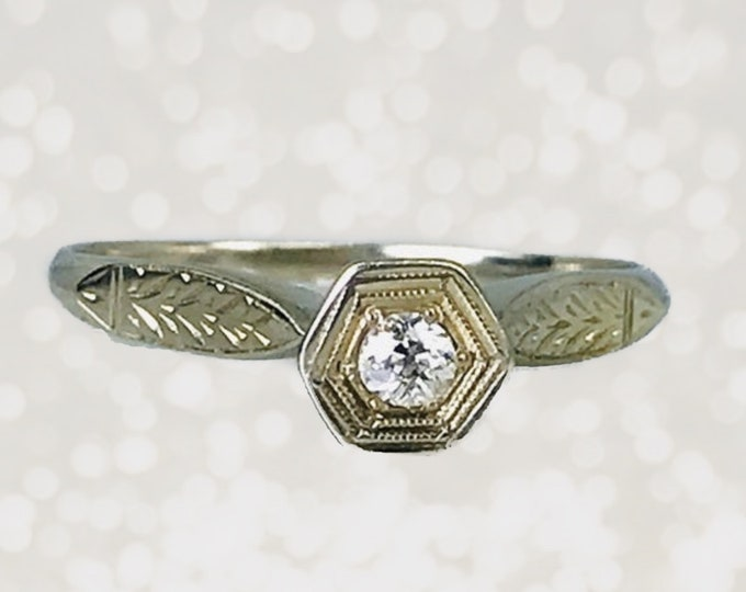 Antique 1920s Diamond Engagement Ring in an Art Deco 14K Gold Setting. Unique Engagement Ring. Sustainable Vintage Jewelry.