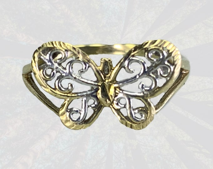 Vintage Gold Butterfly Ring in 10K Yellow and White Gold. A Wonderful Graduation Gift. 1970s Whimsical Sustainable Estate Jewelry.