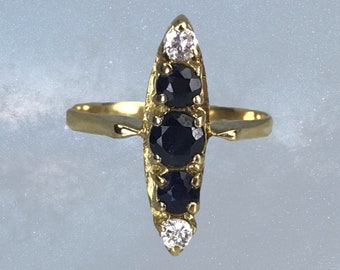 Antique Sapphire and Diamond Ring in a 14K Yellow Gold Modernist Setting. September Birthstone. 1910s Sustainable Estate Jewelry.