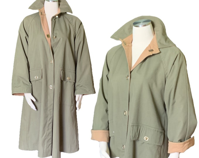 Vintage Green Trench Coat by Bonnie Cashin with Tan Wool Lining. Oversized Utilitarian Style. 1970s Sustainable Designer Fashion.