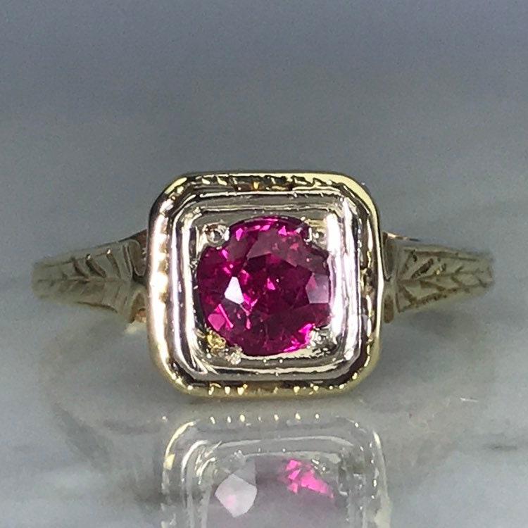 Antique Ruby Ring In 14k Yellow Gold Art Deco Filigree Setting