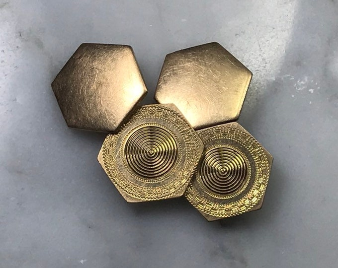 Vintage Hexagon Cufflinks. Grooms or Groomsmen Gift. Graduation Present. Gold Filled Cuff Links. 1940s Sustainable Vintage Mens Accessories.
