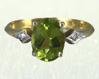 Vintage Peridot Engagement Ring in 18K Gold with Diamond Accents. August Birthstone. 16th Anniversary Gift. 1930s Sustainable Estate Jewelry