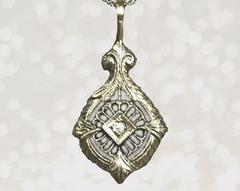 """Antique Art Deco Diamond Pendant in a 10K White Gold Filigree Setting. April Birthstone. 1920s Estate Jewelry. """"Something Old"""" for the Bride"""