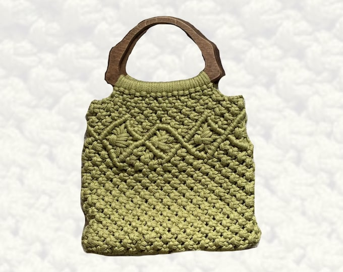 Vintage Avocado Green Macrame Bag with Wooden Handles. Perfect Bohemian Summer Purse. 1970s Sustainable Fashion Accessory.