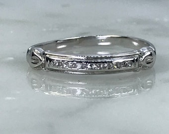 Vintage Diamond Wedding Band. 18K White Gold. April Birthstone. 10th Anniversary Gift. Estate Jewelry. Diamond Stacking Ring. Gold Band.
