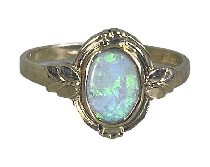 Vintage Opal Ring set in a 10K Yellow. Unique Engagement Ring or Graduation Gift. 1930s Sustainable Estate Jewelry.  October Birthstone.