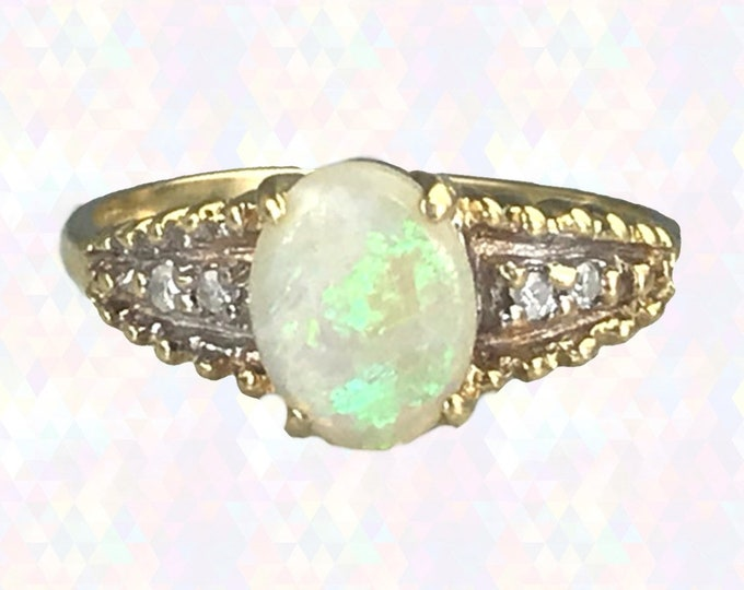 Vintage Opal and Diamond Ring in 14K Yellow Gold. Unique Engagement Ring. October Birthstone. 14th Anniversary. Estate Jewelry Circa 1960s.