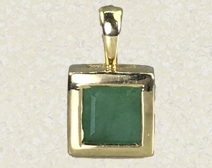Vintage Emerald Pendant in 14K Yellow Gold. May Birthstone. 20th Anniversary Gift. Appraised Sustainable Estate Jewelry Circa 1960s.
