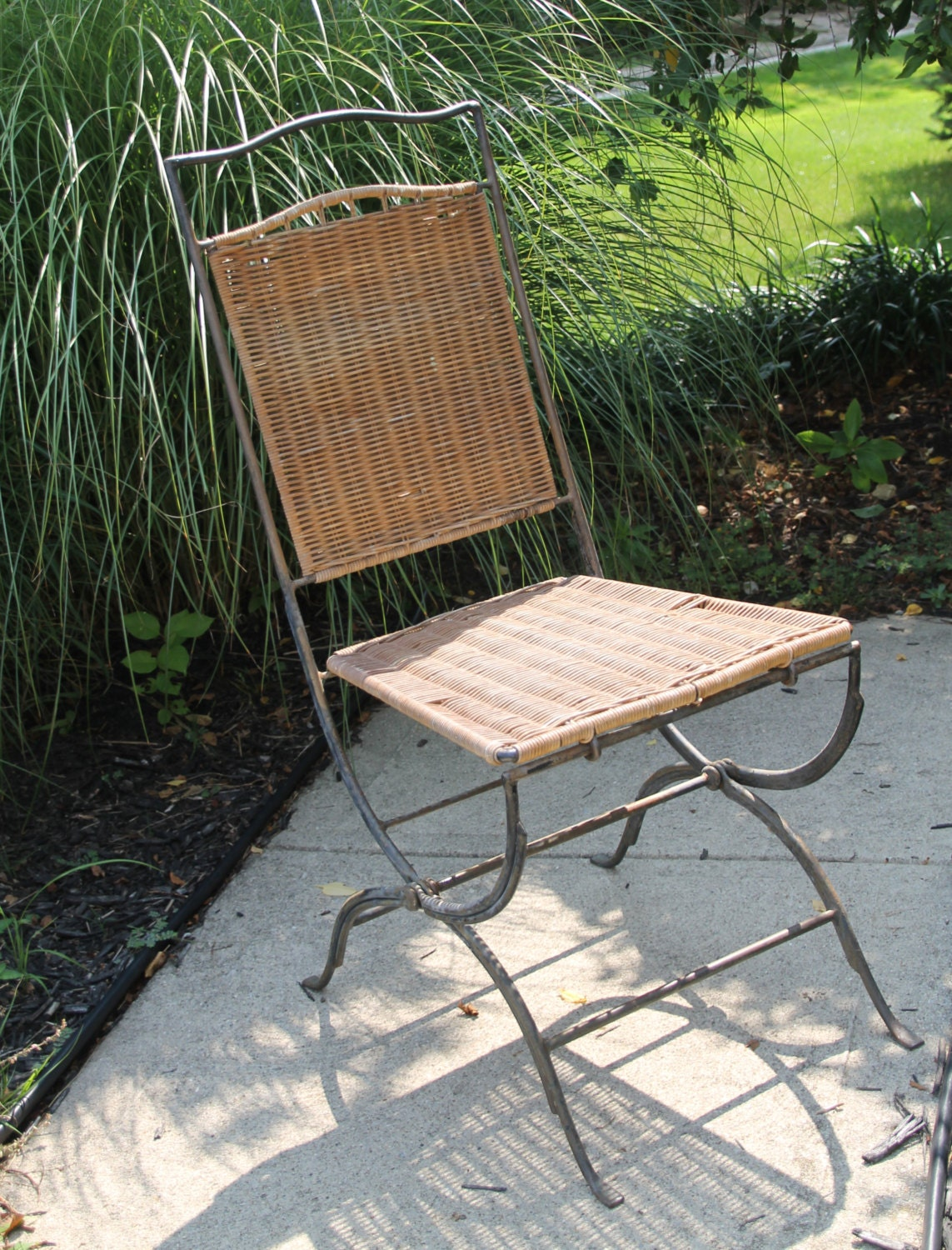 Vintage Wicker Rattan Chair Mid Century Modern Seating With