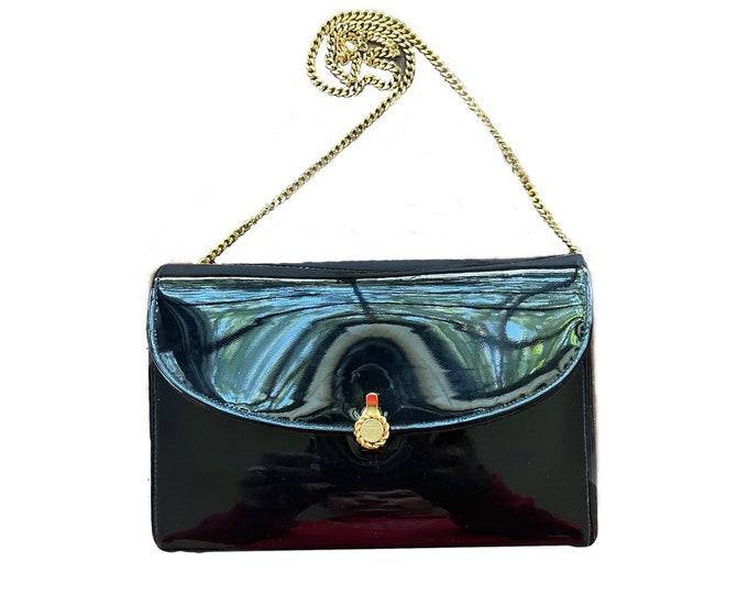 Vintage Black Patent Leather Handbag by Coblentz. 1950s Sustainable Fashion Accessories. Elegant Evening Bag. Small Purse.