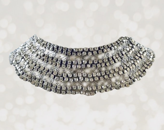Antique Rhinestone and Silver Collar Necklace with 600 Rhinestones and Lace Filigree. Something Old 1920s Wedding Jewelry.