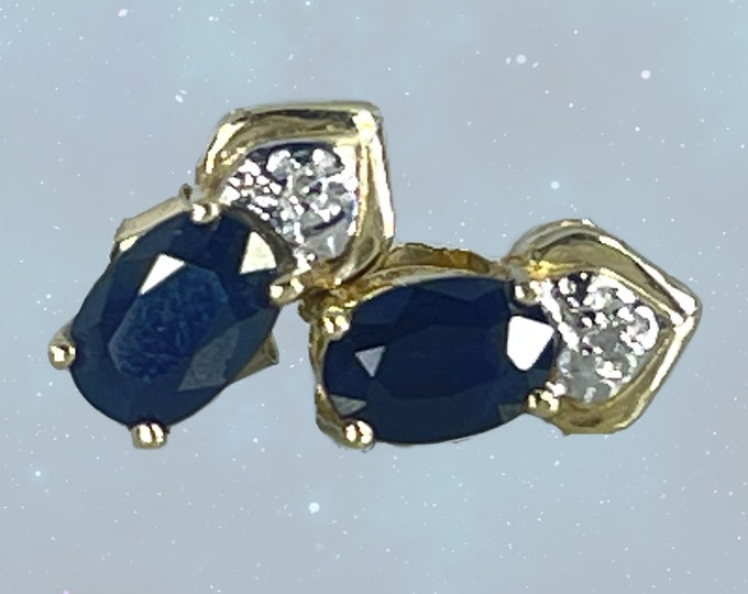 Vintage Sapphire and Diamond Earrings. 10k Solid Yellow Gold. September Birthstone. Something Old or Blue for the Bride to be.