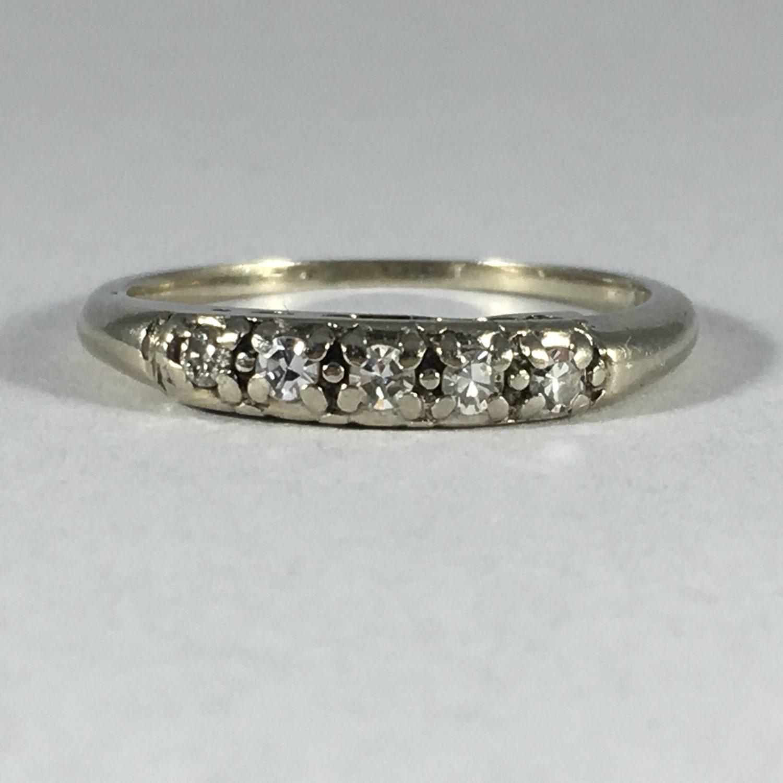 Vintage Diamond Wedding Band. 14K White Gold. April Birthstone. 10th ...