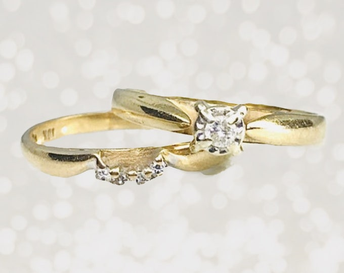 Vintage Diamond Bridal Set with Engagement Ring and Wedding Band in 10K Yellow Gold. Sustainable Jewelry Circa 1950..