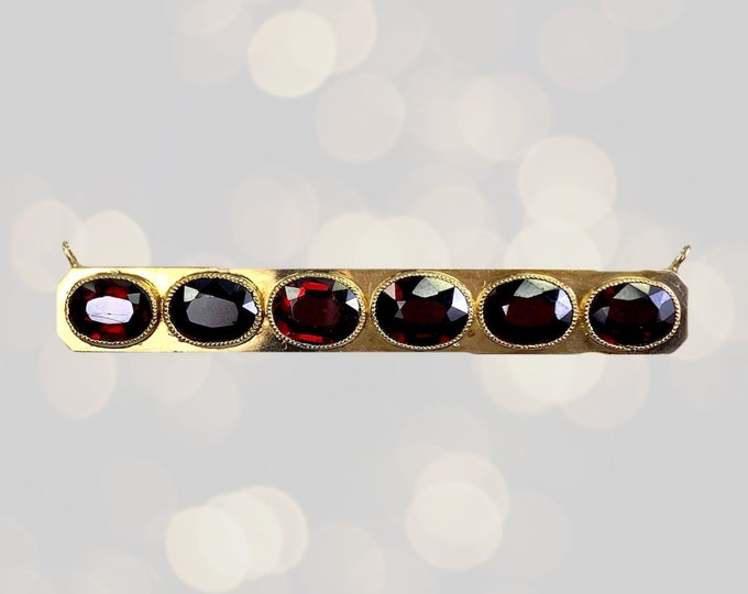 Antique Garnet Bar Pendant in 14K Yellow Gold. Upcycled Repurposed Brooch. January Birthstone. 2nd Anniversary Gift. 1800s Estate Jewelry.