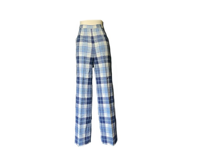 Vintage Blue and Red Plaid Pants by Pendleton. Wool Slacks with Wide Legs. Preppy Chic Fashion. 1950s Sustainable Women's Clothing