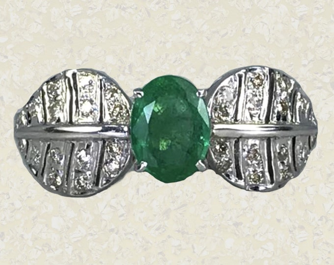 Antique Emerald and Diamond Ring in a 18K White Gold Art Nouveau Setting. Unique Engagement Ring. May Birthstone. APPRAISED