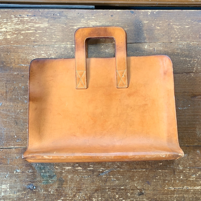 Tan Leather Briefcase or Attaches Beautiful Soft Leather with Slim Design Perfect gift for Graduate or Someone Starting a New Job.