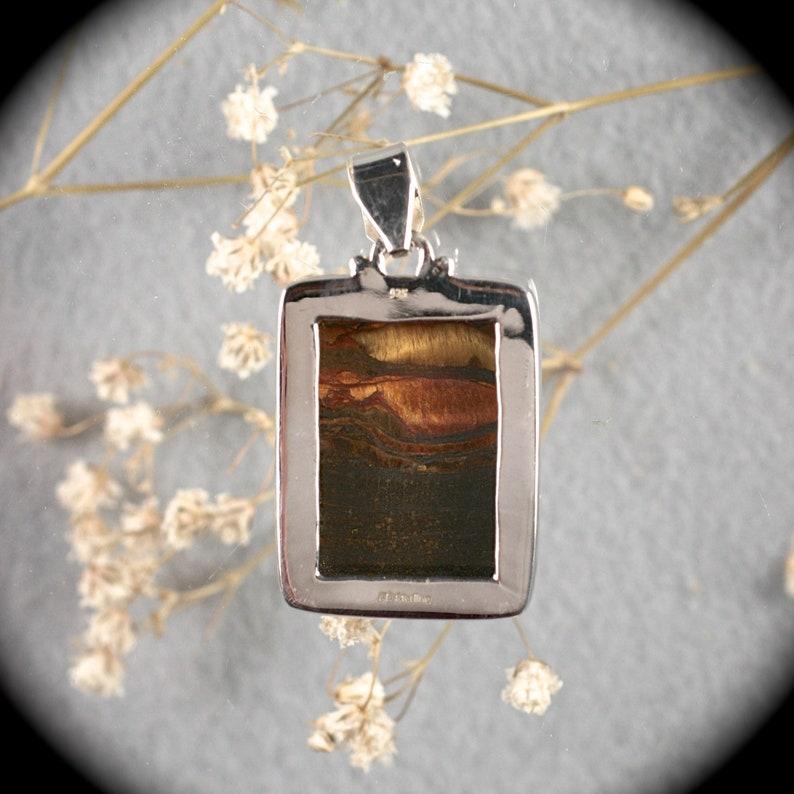 Tiger Iron gemstone sterling silver freerform  pendant 47x26mm