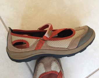 a87bdee25195 LANDS-END-Womens Shoes Mary-Jane-Z-Strap-Terrain slip on loafers Suede Tan/Orange  size 7
