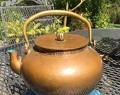 Mid-Century Chinese Copper Teapot Brass accents enameled inside Vintage kettle hallmarked