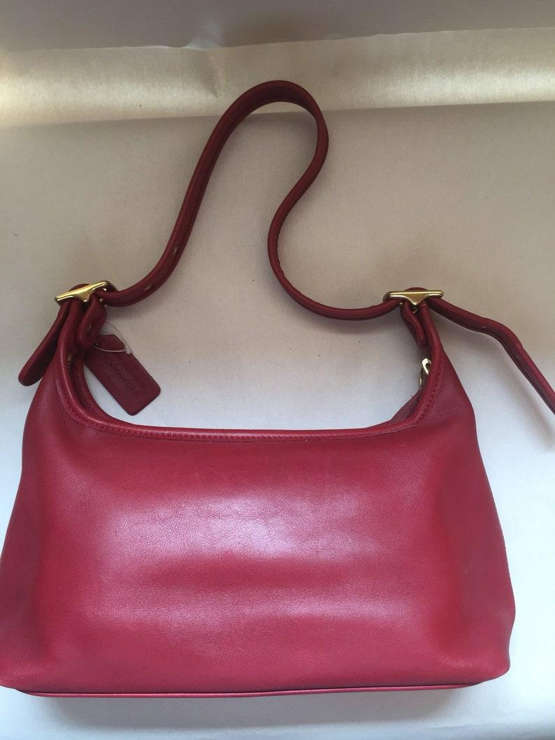 a541fbcb53 Little Red Leather Coach purse shoulder bag genuine vintage | Etsy