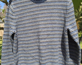 The Gap Men's 100% Lambs Wool pullover sweater blue grey taupe size XL